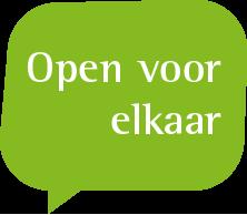 Praatwolkje met de tekst 'Open voor elkaar'